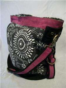 LUCKY BRAND Canvas & Suede Hobo Handbag Bucket Bag