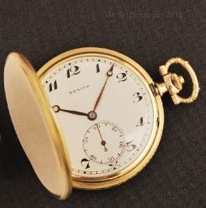 18K SOLID YELLOW GOLD MANUAL WIND HUNTER POCKET WATCH AUTHENTIC SWISS
