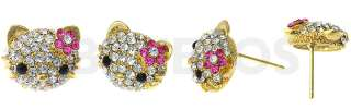 Swarovski Crystal Hello Kitty Gold Earrings Pink Flower