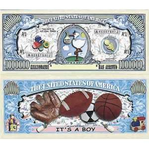 Set of 100 Its a Boy One Million Dollar Bill Toys & Games