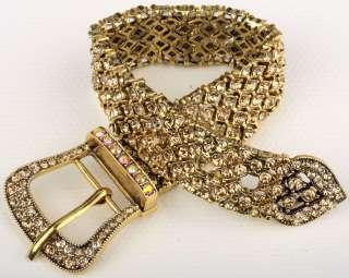 Gold swarovski crystal stretch belt chain bracelet 2
