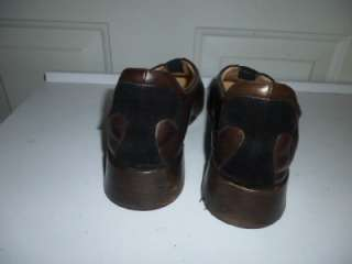 Sz 40 (9.5m) TARYN ROSE soft brown leather slip on flats black trim
