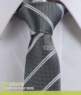 Y165 Dark Gray White Stripes Skinny Woven Silk 2 Tie