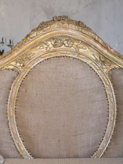 French Chic Louis XVI Style Gold Gilt Burlap Daybed Sofa Ornate
