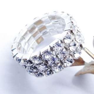 1PC Fashion Girl Stretchy 3 Row Rhinestone Finger Elastic Ring