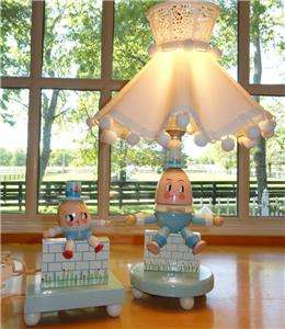 Original~Wooden Humpty Dumpty~Kid~Baby~Lamp+Shade & Night Light