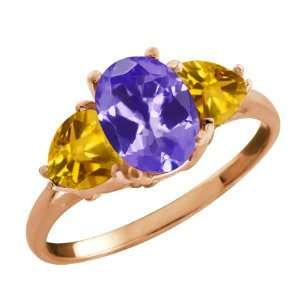 Ct Oval Blue Tanzanite and Yellow Citrine 10k Rose Gold Ring Jewelry