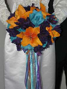 Purple Zinnas & Turquoise Roses & Orange Lilies Wedding Bouquet Set