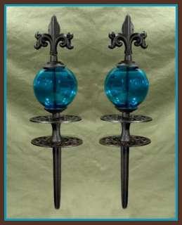 FLEUR DE LIS & BLUE GLASS GLOBE Cast Iron GARDEN HOSE GUIDES
