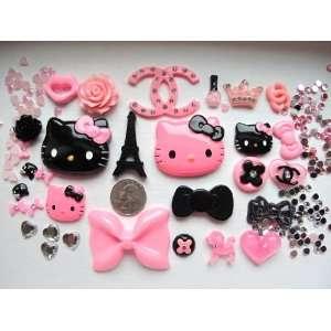 30 Mix Pink/Black Hello Kitty Bling Bling Flat Back Resin Cabochon