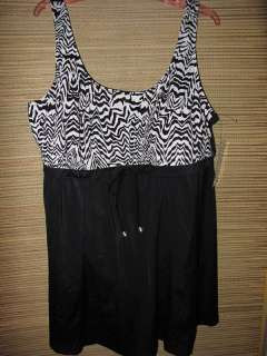NWT Maxine 24W Womens Plus Size Black White Empire Swimdress Swimsuit