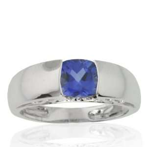 10k White Gold Created Blue Sapphire and Diamond Mom Ring (.01 cttw, I