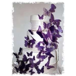 Butterfly Wedding Cake Topper Set Multi Sized Purple (46x Butterflies