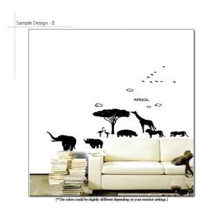 AFRICAN ANIMALS SCENERY Nursery Kids Wall Decor Stickers Removable