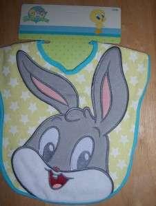 New Looney Tunes Applique Bib, Bugs Bunny, Tweety, Taz, Baby Shower