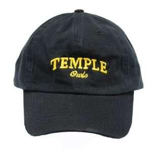 NCAA TEMPLE OWLS GARMENT WASHED BLACK COTTON HAT CAP