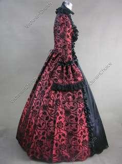 Victorian Gothic Satin Wedding Dress Ball Gown 119 M