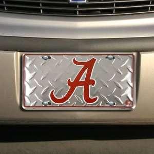 Alabama Crimson Tide Diamond Metal License Plate Sports