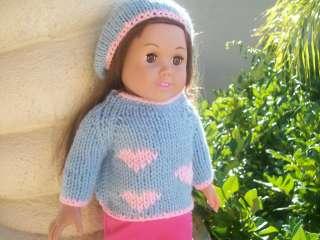 American Girl Doll Clothes Hand knit sweater & hat set