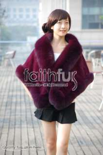 Ladys Real Rex Rabbit fur cape with Fox fur trimmed. Gorgeous and