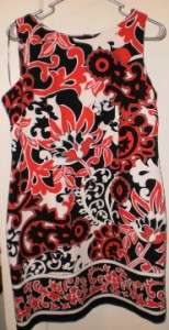 Perceptions Petite Black White and Red Sleeveless Sheath Dress Size