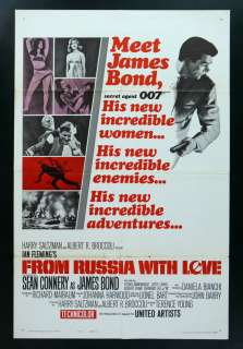 FROM RUSSIA WITH LOVE * JAMES BOND ORIG MOVIE POSTER