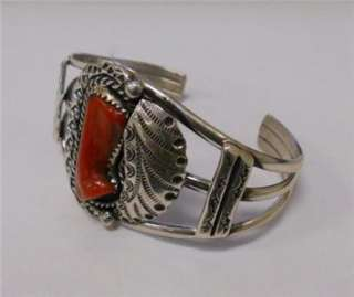 NATIVE AMERICAN STERLING SILVER BRACELET WITH LARGE CORAL STONE
