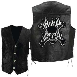Genuine Leather Vest Motorcycle Vests Skull Skulls Flames Bike