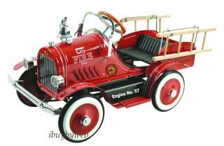 Kids Classic Red Fire Truck Engine Pedal Car Riding Toy