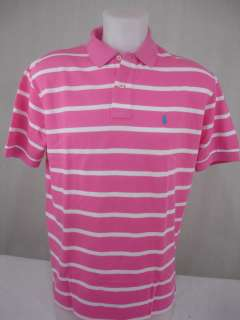 NWT Ralph Lauren Mens Polo Shirt Classic Fit Mesh Pink White Turquoise