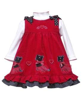 New Girls Rare Editions 4T Red PUPPY Trio Dress Birthday Valentine day