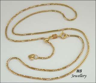 HS Italian 18k Yellow & White Gold Adjustable Box Chain, 1.15mm wide