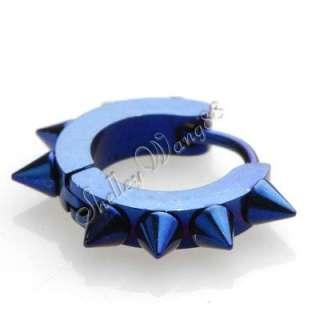 Mens Earring Stud BLUE Stainless Steel PUNK style Plug