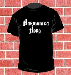HARMONICA HERO MENS T SHIRT PLAYER FUNNY MUSIC MU22