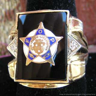 Vintage Mens 10k Yellow Gold +Diamonds Law Enforcement Officer LEO
