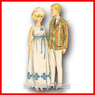 Vtg 1960s Barbie & Ken Doll Clothes Pattern ~ Dress, Suit, Beach, Swim