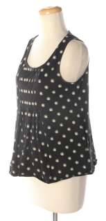 CLUB MONACO Black/White Print Pima Cotton Tank Top L