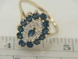 10K Yellow Gold 1.76ct Blue Sapphire & Diamond Ring