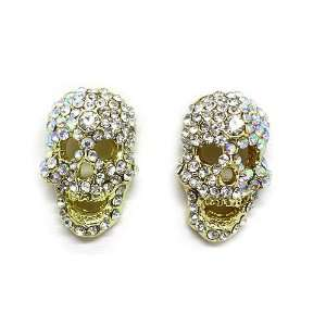 Skull Stud Earrings; 0.75L; Gold Metal with clear and AB