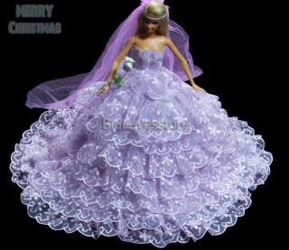 Handmade Dresses Fashion Party Clothes For Barbie Doll J301