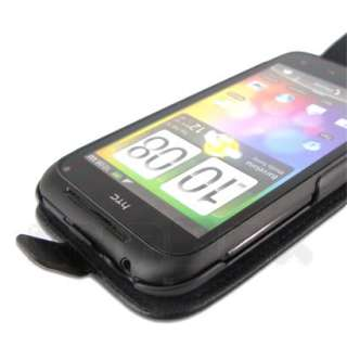 Cow Leather Case Pouch Cover + Film For HTC Incredible S u_Black
