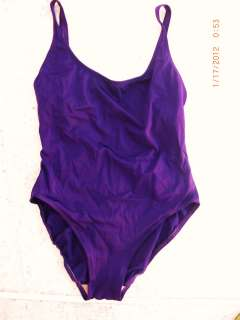 Womens Anne Klein PURPLE JEWEL TONE One Piece Swim Suit 14