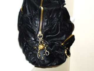 JUICY COUTURE Black Quilted Gold Chain Faux Leather Satchel Tote
