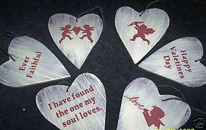 Primitive Valentines Wood Heart Ornament.set of six