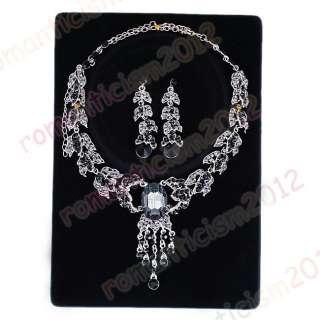 Free choker necklace earring 1set Czech rhinestone