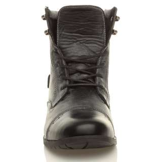 MENS MILITARY STYLE ZIP COMBAT VINTAGE WORK ARMY LACE UP ANKLE BOOTS
