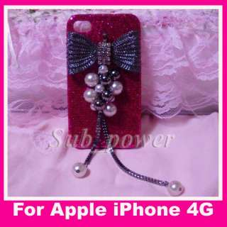 3D Rhinestone BOW pearl pendant Bling Crystal Case cover for iPhone 4