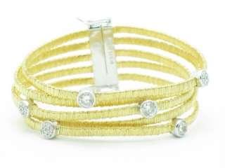 18KT GOLD SILVER DIAMOND SET BEZEL WIDE MESH BRACELET