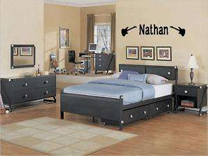 BOYS NAME GUITAR ROCK Vinyl Sticker Wall Decal Bedroom