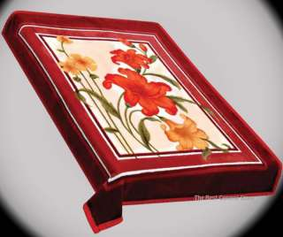Light Red with Rose Super SOFT Floral Blanket fits Queen or King 77 x
